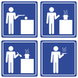 Pictograph - cooking, male. Set of 4 pictographs of a man cooking Stock Photos