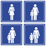 Pictograph; Family - single mom Stock Photos
