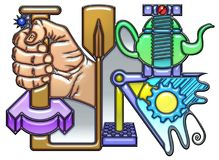 Pictograph of the fortune noun. Fortune, the word fortune shaped like complex pictograph. A fist with quarter round and oar together with a teapot and bolts over Stock Photos
