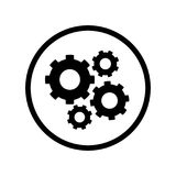 Pictograph of Gears icon in circle - vector iconic design Stock Image