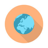 Pictograph Globe Icon  on White. Strategy, business marketing symbol. Earth. Editable items in flat style for web design. Part of series of accessories for Stock Photos