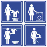 Pictograph - Laundry. Set of 4 pictographs of a woman doing the laundry Royalty Free Stock Photo