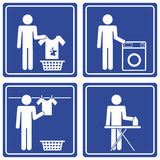 Pictograph - Laundry, male. Set of 4 pictographs of a man doing the laundry Royalty Free Stock Photos