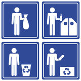 Pictograph - recycle, male. Set of 4 pictographs of a man recycling Royalty Free Stock Image