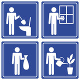 Pictograph - various chores, male. Set of 4 pictographs of a man doing various chores Stock Photography