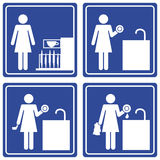 Pictograph - washing dishes. Set of 4 pictographs of a woman doing the dishes Royalty Free Stock Photo
