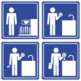 Pictograph - washing dishes, male. Set of 4 pictographs of a man doing the dishes Royalty Free Stock Images