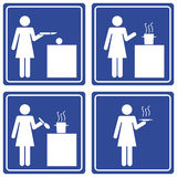 Pictograph - woman cooking. Set of 4 pictographs of a woman cooking Stock Photos