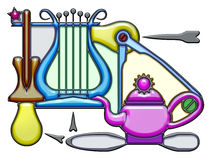 Pictographic composition of the dew noun. Dew, the word dew shaped like pictographic complex composition. Oar and lyre with light bulbs and compass on a teapot Royalty Free Stock Image