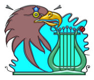 Pictographic composition of the hall noun. Hall, the word hall shaped like pictographic complex composition. Head of eagle with star and lyre with waves Royalty Free Stock Photos