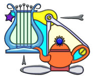 Pictographic composition of the lens noun. Lens, the word lens shaped like pictographic complex composition. A blue lyre with light bulb and compass on a teapot Stock Image