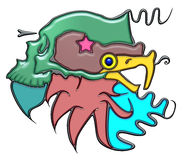 Pictographic composition of the mass noun. Mass, the word mass shaped like pictographic complex composition. Green skull on head of eagle with waves royalty free illustration