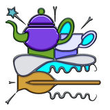 Pictographic composition of the teapot noun Royalty Free Stock Images