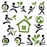 A pictographic image of a green family Royalty Free Stock Images