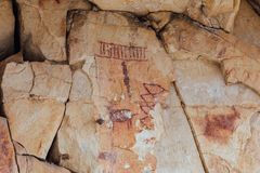 Pictographs in The Grand Canyon stock photography