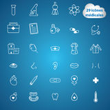 Pictomedical. Set of medical and pharmacy line icons Stock Images