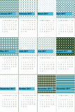 Picton blue and mallard colored geometric patterns calendar 2016 Stock Photos
