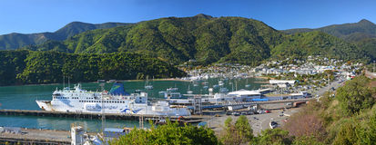 Picton & Ferry Terminal Panorama in Marlborough Sounds. Royalty Free Stock Photography