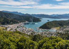 Picton harbour and Queen Charlotte Sound in New Zealand Stock Image