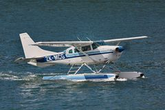 Floatplane on water. PICTON, NEW ZEALAND - MARCH 28, 2016: Cessna seaplane near Picton about to take off Royalty Free Stock Image