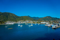 PICTON, NEW ZEALAND - MAY 21, 2017: Bluebridge and Interislander ferry in Picton Port viewed from Queen Charlotte dr Stock Image
