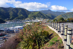 Picton Town and Harbour from Queen Charlotte Drive. Royalty Free Stock Photography