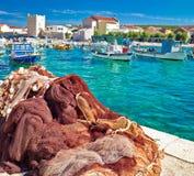 Pictoresque fishermen village of Razanac square composition. Dalmatia, Croatia Stock Images
