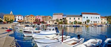 Pictoresque fishermen village of Vinjerac panorama. Dalmatia, Croatia Stock Images