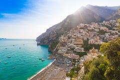 Pictoresque town of Positano, Amalfi coast, Campania region, Italy. Pictoresque town of Positano with late afternoon sunrays trails, Amalfi coast, Campania Stock Image