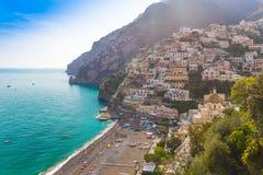 Pictoresque town of Positano, Amalfi coast, Campania region, Italy. Pictoresque town of Positano with late afternoon sunrays trails, Amalfi coast, Campania Stock Images