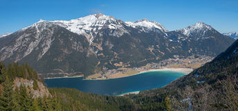 Pictorial austrian landscape with view to lake achensee and rofa Royalty Free Stock Image