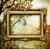 Pictorial autumn. Autumn - artwork in painting style with blank frame royalty free illustration