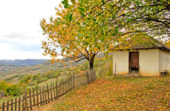 Pictorial autumn landscape with a mountain house Stock Photography