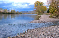 Pictorial, autumn landscape of the river and riverside Stock Photos