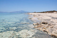 Pictorial background of turquoise sea and beautiful beach, Chrissi Island, Crete, Greece Stock Photo