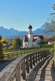 Pictorial bavarian landscape and chapel wallgau Stock Photos