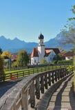 Pictorial bavarian landscape and chapel wallgau. Pictorial bavarian landscape and typical chapel wallgau Stock Photos