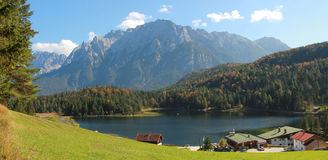 Pictorial bavarian landscape, lake lautersee and alps. Pictorial bavarian landscape, lake lautersee and karwendel alps. Famous hiking area Stock Photography