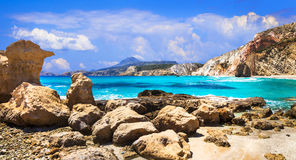 Pictorial beaches of Greece - Firiplaka, Milos island Stock Photography