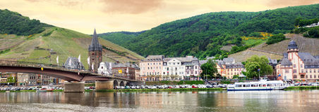 Pictorial bernkastel health resort village and river moselle. Pictorial bernkastel village and river moselle in morning mood, germany Stock Image