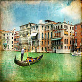 Pictorial canals of Venice. Beautiful venetian canals - artistic picture Royalty Free Stock Images