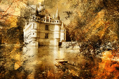 Pictorial castle. Artistic picture of Azey castle Royalty Free Stock Image