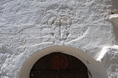 Pictorial details of a Byzantine church at Agios Nikolaos, Crete, Greece. Pictorial details of the Byzantine church at Agios Nikolaos, Crete, Greece. Remains of Royalty Free Stock Photos