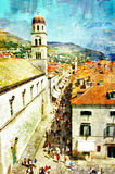 Pictorial Dubrovnik. Pictorial scene of main street in old town of Croatia Dubrovnik - picture in painting style Stock Photography