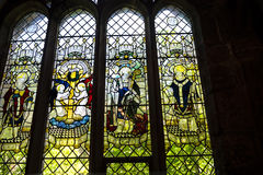 Pictorial Glass Window in the Cathedral or Minster in Chester England Stock Photos