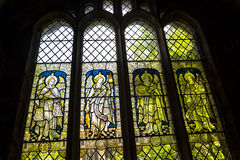 Pictorial Glass Window in the Cathedral or Minster in Chester England Royalty Free Stock Photos
