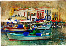Pictorial Greece. Pictorial small harbors of greek islands-artwork in painting style vector illustration