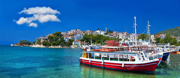 Pictorial Greek islands. Pictorial harbors of small greek islands - Skiathos Stock Image