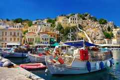 Pictorial Greek islands seres. Pictorial ports of small greek islands - Symi Royalty Free Stock Photo