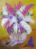 Pictorial greeting card with bouquet of vivid lilas. In glass vase royalty free illustration